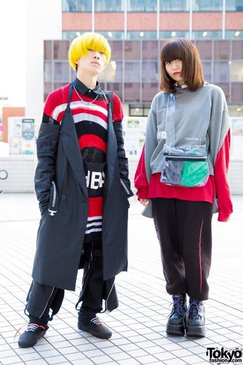 Here's Akki and Hana wearing  eye-catching outfits plus yellow hair! Outfits are from Hood by Air, MYOB NYC, A Cold Wall, Some Ware x GHE20G0TH1K, 032C, Vans & Yosuke #drone #shopping #fashion # FactoryDirect