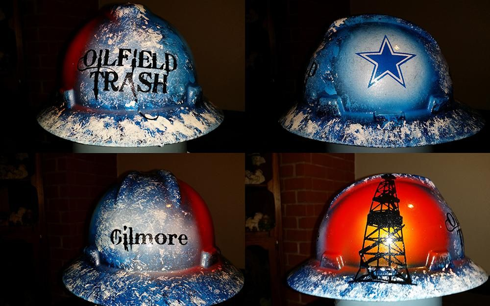 Oilfield Trash Cowboys style custom Dallas hard hat  8d0abf0faf00