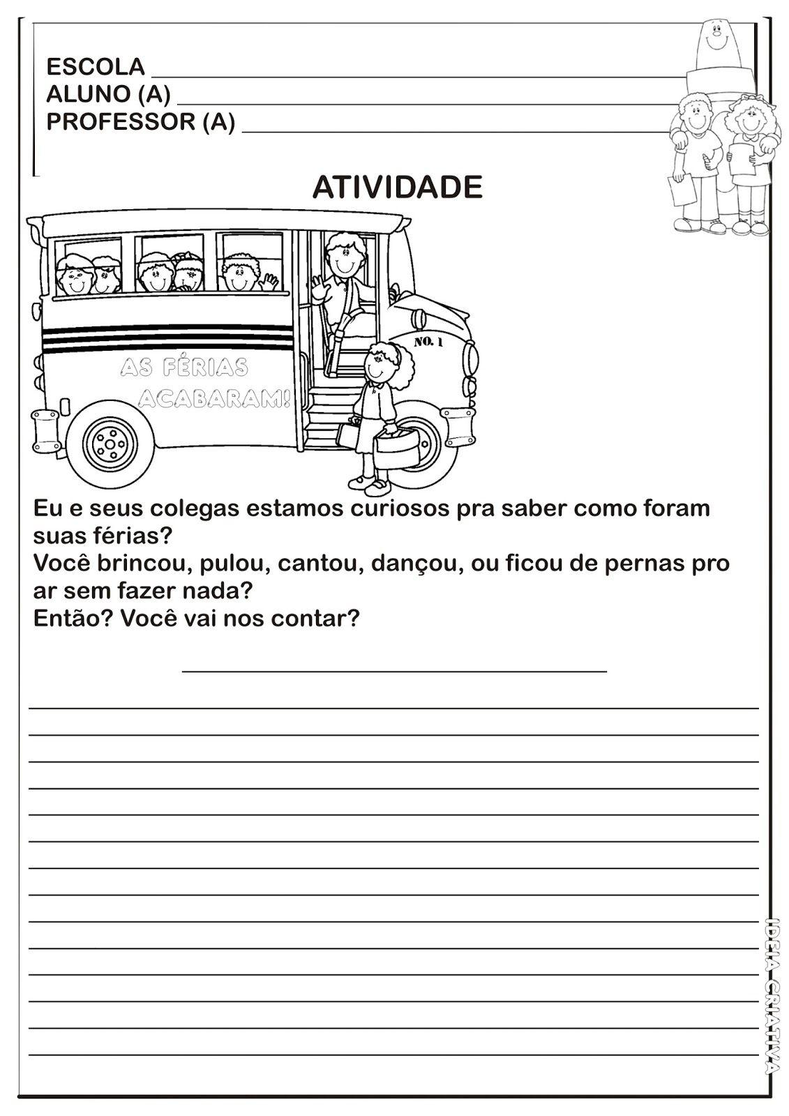 Atividade Producao De Texto Volta As Aulas Com Imagens