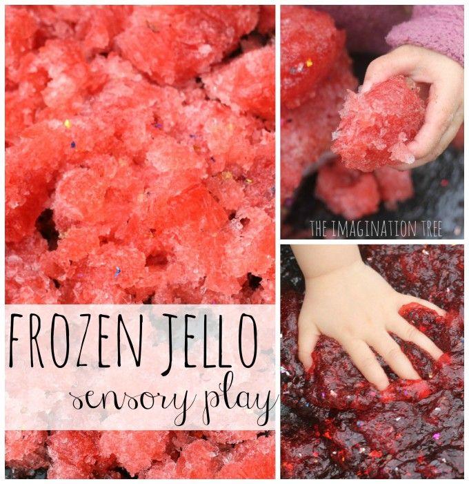 Frozen sparkle jello sensory play collage
