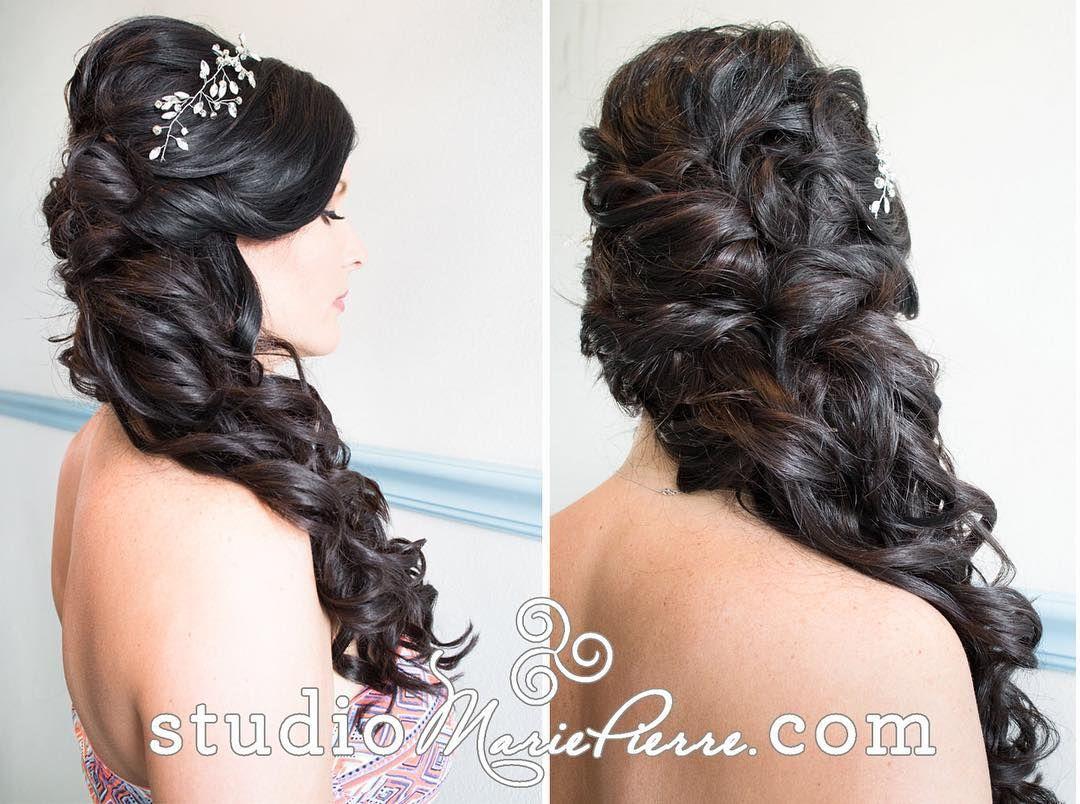 long hair off to the side bridal updo #studiomariepierre