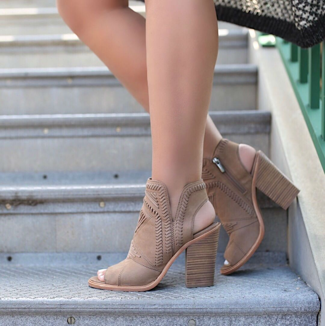 d3394d1e442 Blogger Sarah Lindner of The House of Sequins wearing Karinta Block Heel  Bootie vince Camuto