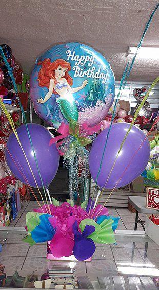 Centros de mesa de la sirenita con globos buscar con for Centros de mesa con peceras