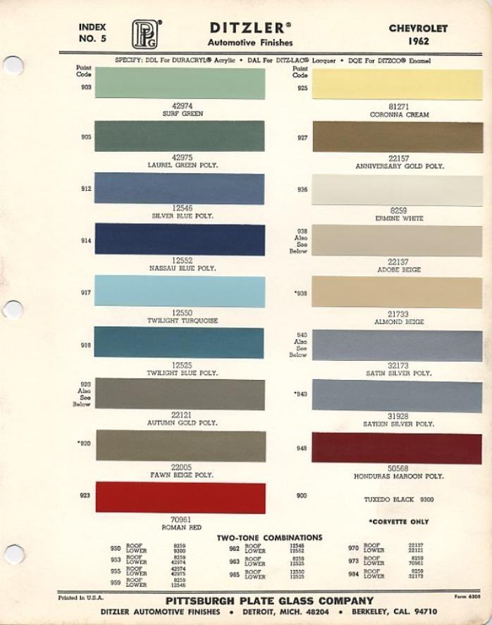 Corvair Paint Sheet 1962 Mustang Paint Charts 1968 Mustang