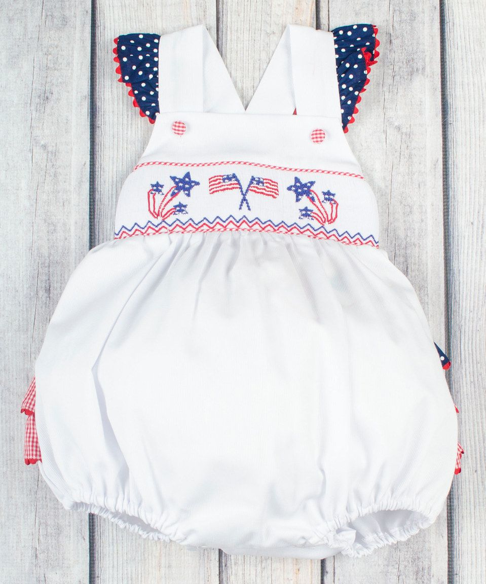 Look at this #zulilyfind! White & Red Smocked Patriotic Bubble ...