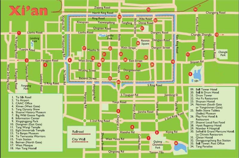 Xian Maps Http Absolutechinatours Com Au Xian Map Tp Html Tourist Map Tourist China Travel