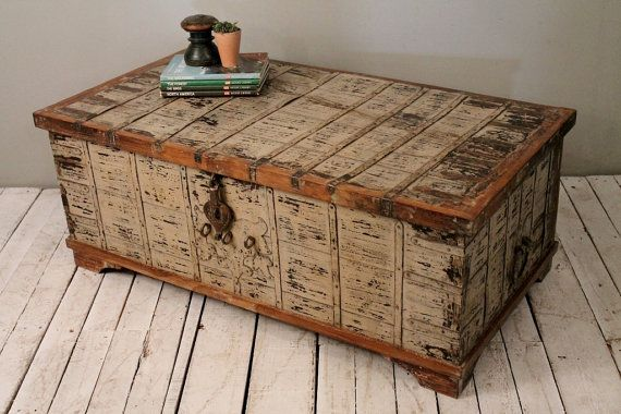 Reclaimed White Washed Salvaged Antique Indian Wood Iron And Brass Wedding Trunk  Coffee Table Storage Chest