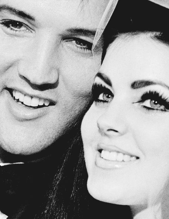 """ladypresley: """" Elvis and Priscilla Presley smile for photographers during the nation-wide press conference following their wedding ceremony at the Aladdin Hotel in Las Vegas, NV., May 1, 1967. """""""
