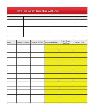 Home Renovation Budget Template , 4 Renovation Budget Template - home budget template