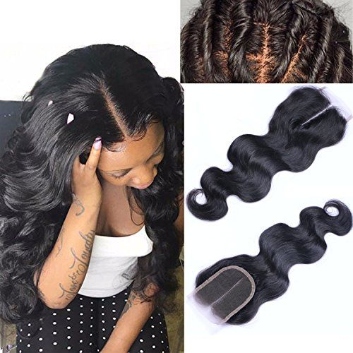 Yazi Hair 4X4 Brazilian Virgin Hair Body Wave Lace Closure Swiss Lace Full and Thick Middle Parting Closures 8 Inch -- Learn more by visiting the image link.