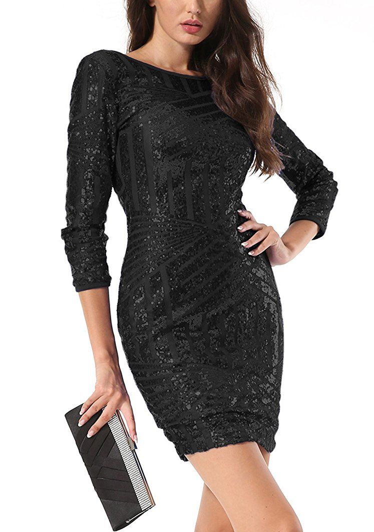 Shoppen Sie Yidarton Damen Paillettenkleid Langarm Rundhals