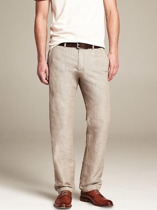 573ba65b Banana Republic Kentfield Vintage Straight-Fit Khaki Micro-Stripe Linen/Cotton  Pant on shopstyle.com
