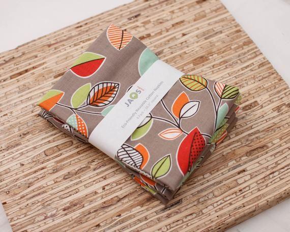 Large Cloth Napkins - Set of 4 - (N5762) - Colorful Leaf on Gray Reusable Fabric Napkins #clothnapkins
