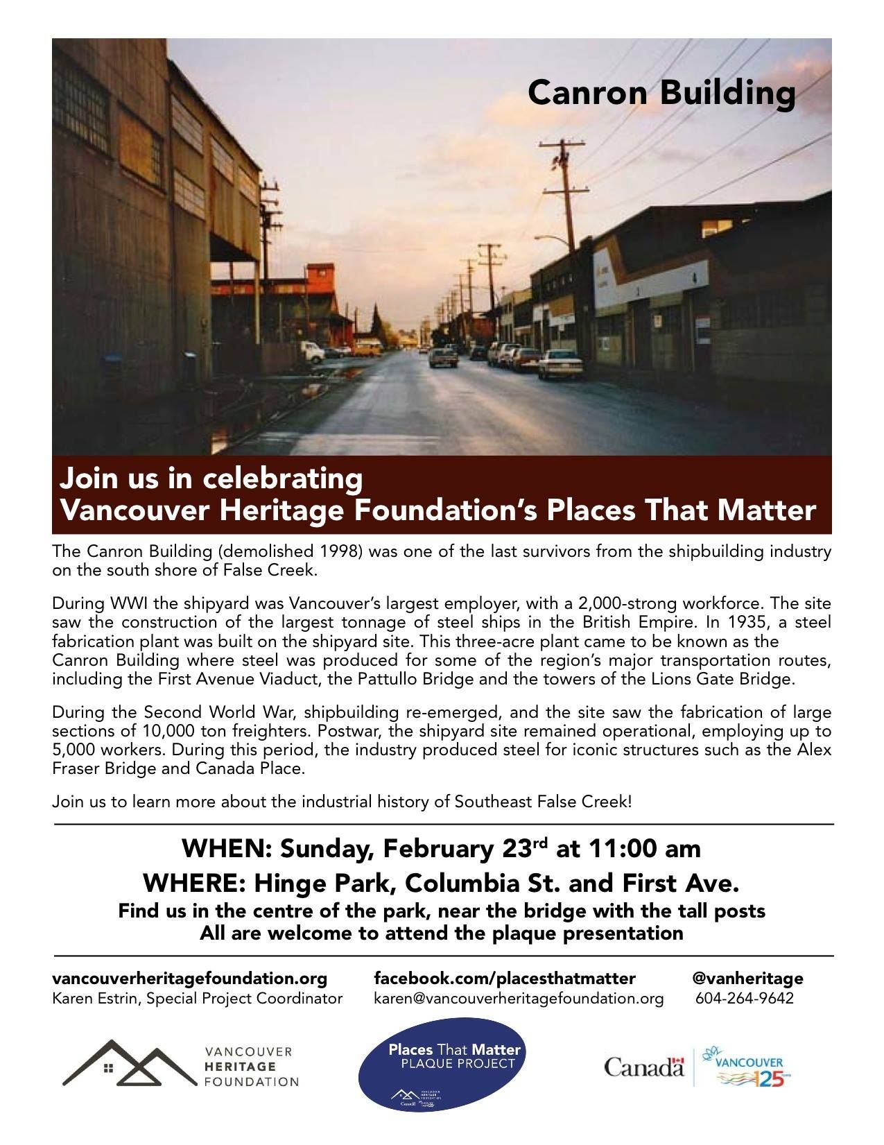 Learn About The History of Hinge Park and the Canron Building This Sunday
