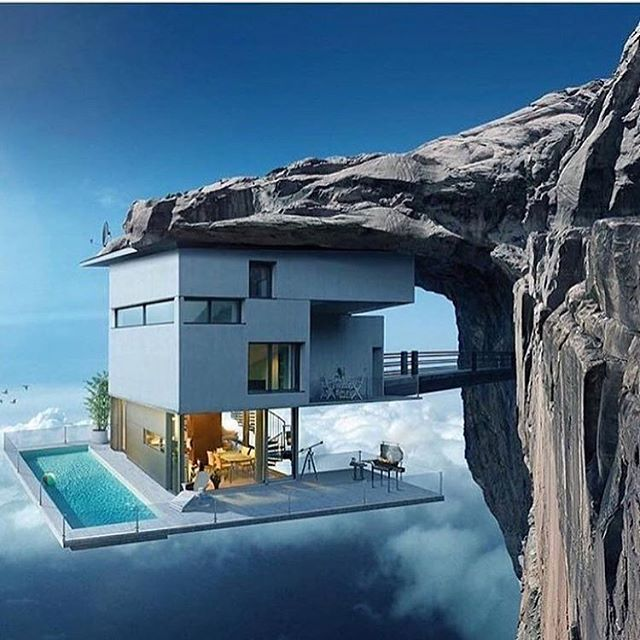 insane cliff house concept via megacribs tag someone who would love this add. Black Bedroom Furniture Sets. Home Design Ideas