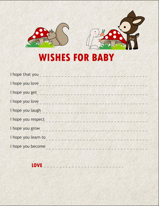 Free printable wishes for baby cards featuring woodland animals free printable wishes for baby cards featuring woodland animals solutioingenieria Gallery
