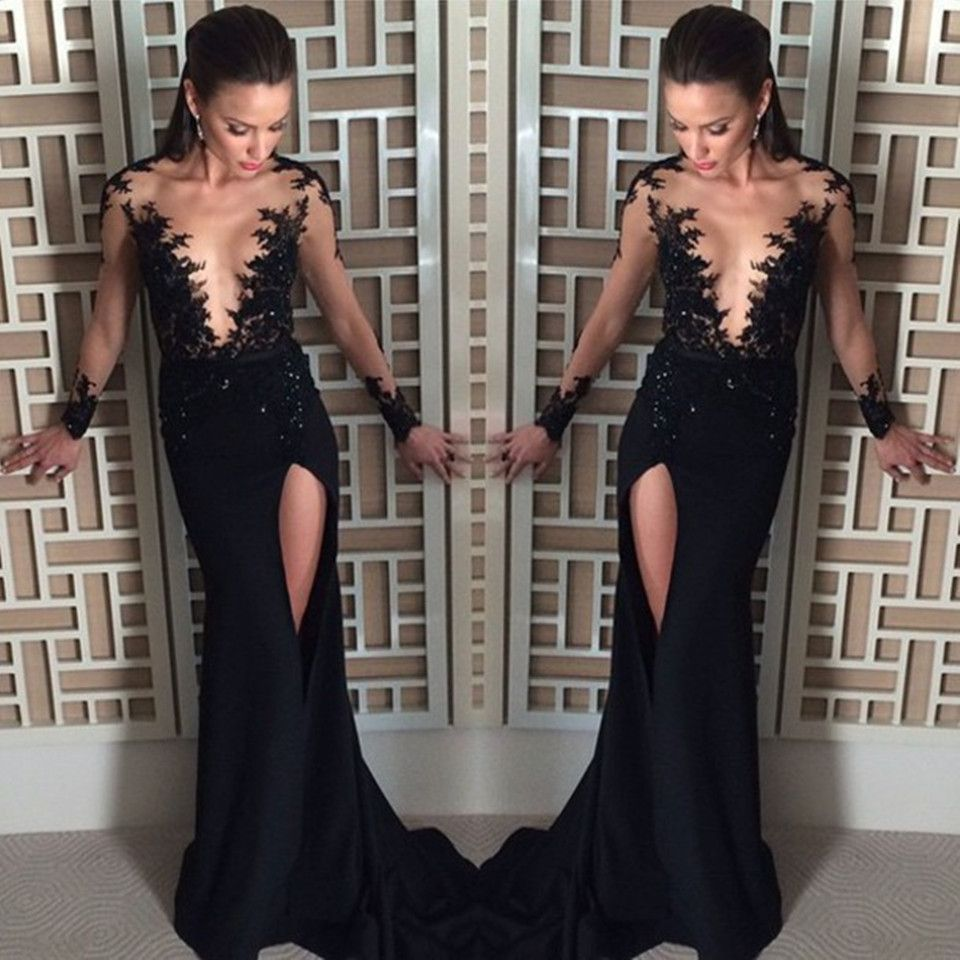 d01af3fe6c061 Unique Black Prom Dress Sexy See Through And Slit Long Prom Dresses 2016  Elegant Full Sleeve Scoop Mermaid Prom Gown Hot Sale