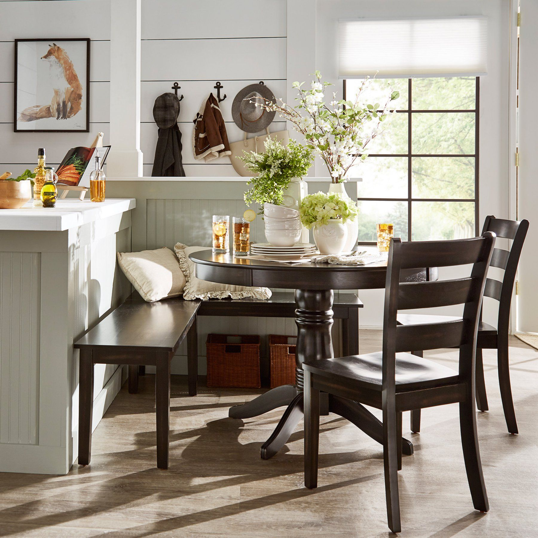 Weston Home Lexington 5 Piece Breakfast Nook Round Dining Set Antique Black 68e55742bk5nkc4 With Images