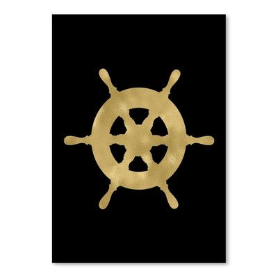 Breakwater Bay Ship Wheel Gold on Black Poster Gallery Graphic Art