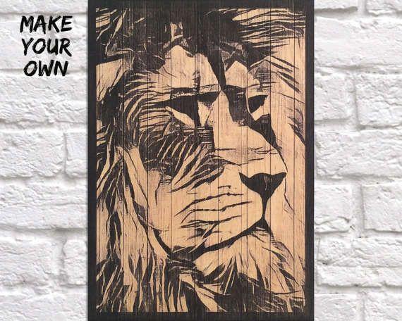 Black And White Lion Kunstdruck Mens Geschenk für von Woodprintz