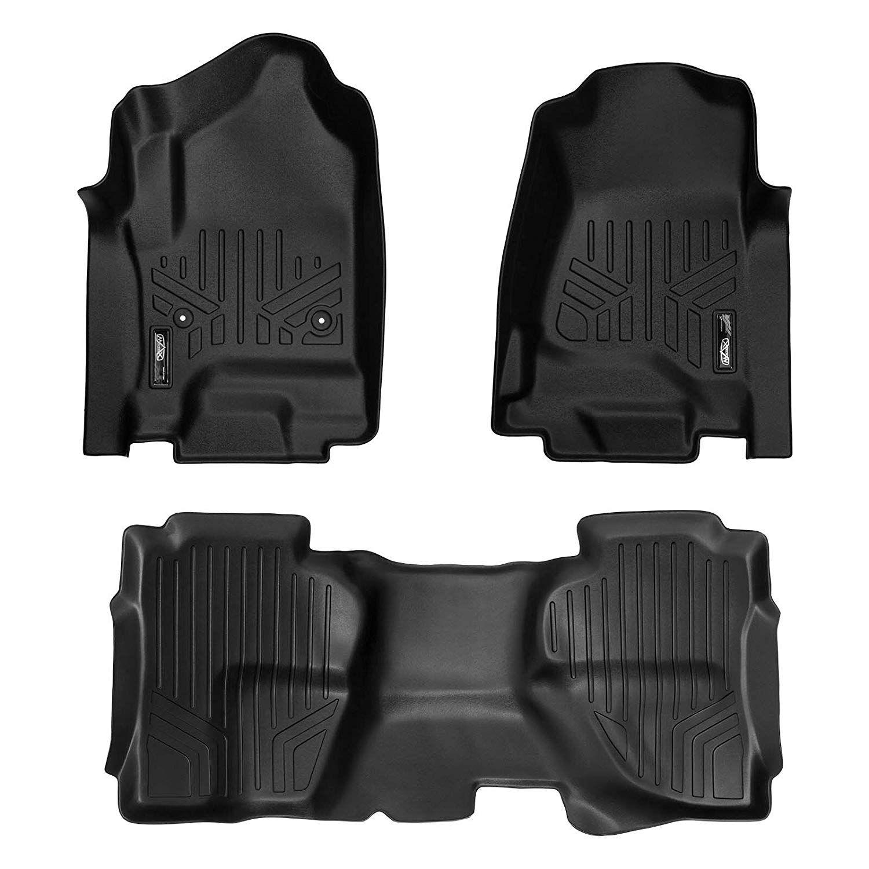 SMARTLINER Floor Mats 2 Row Liner Set Black For Double Cab