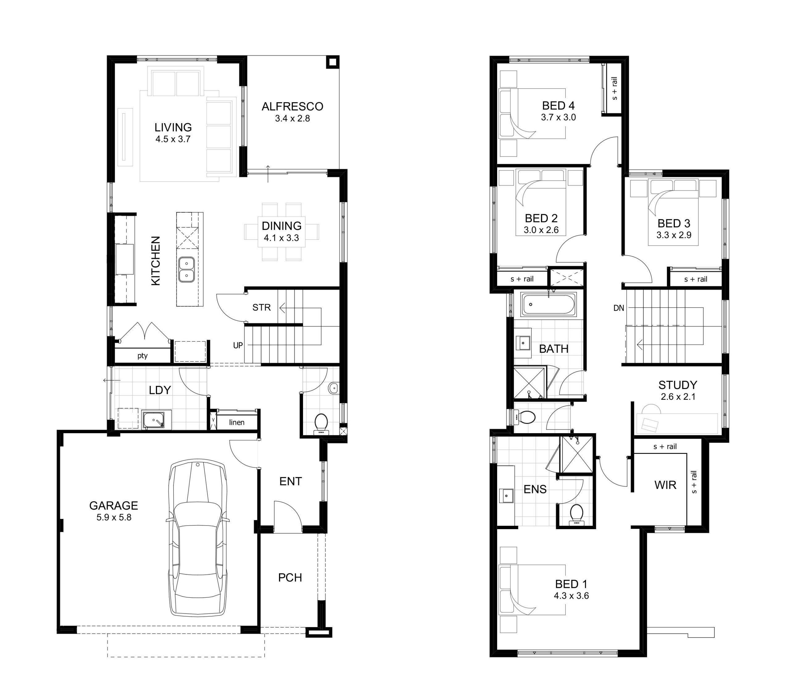 2 Schlafzimmer Zweistockiges Haus Plane Haus Plane Schlafzimmer Zweistockiges In 2020 Double Storey House Plans Double Story House 4 Bedroom House Plans