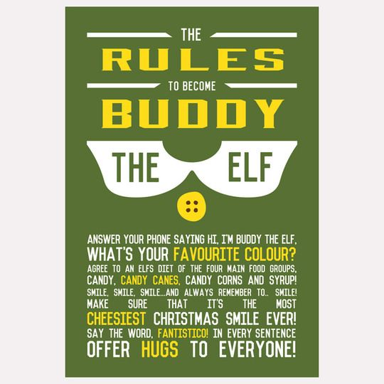 Buddy The Elf Rules Poster