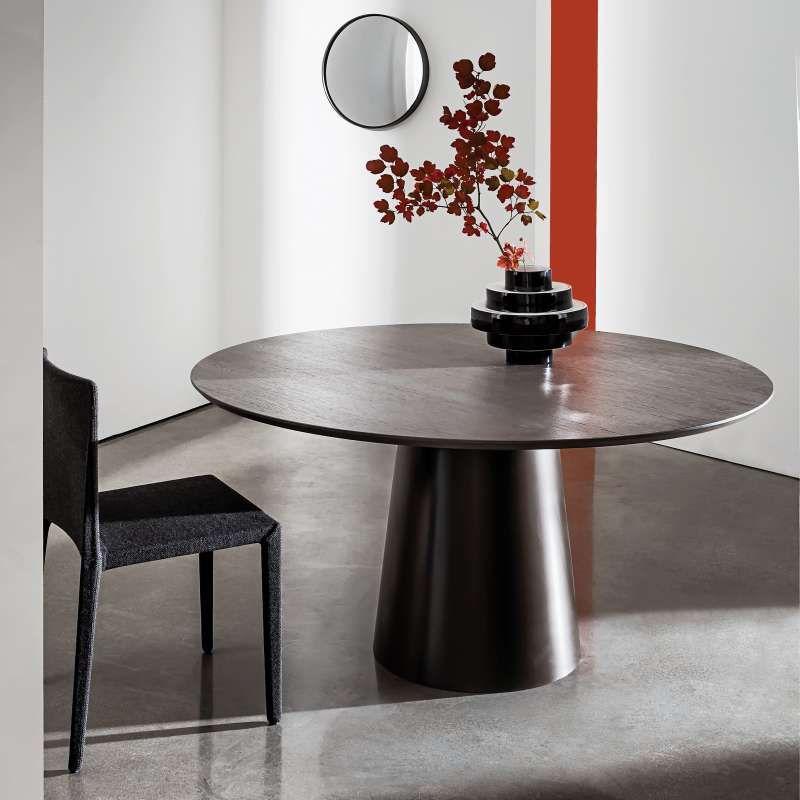 Table Design Ronde Plateau Bois Totem Sovet Table Salle A Manger Table Design Plateau Bois