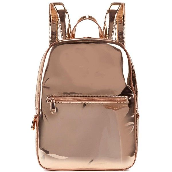 DKNY Rose Gold Leather Backpack ($135) ❤ liked on Polyvore featuring bags,  backpacks