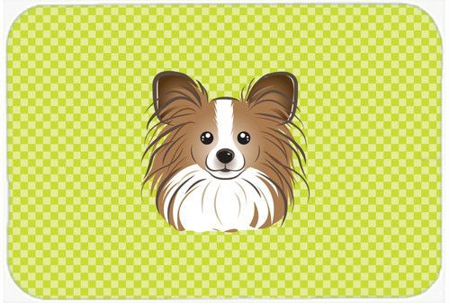 Checkerboard Lime Green Papillon Mouse Pad, Hot Pad or Trivet BB1310MP