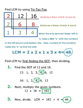 Least Common Multiple Notes 4 Ways To Find Lcm Least Common Multiple Common Multiples Lcm