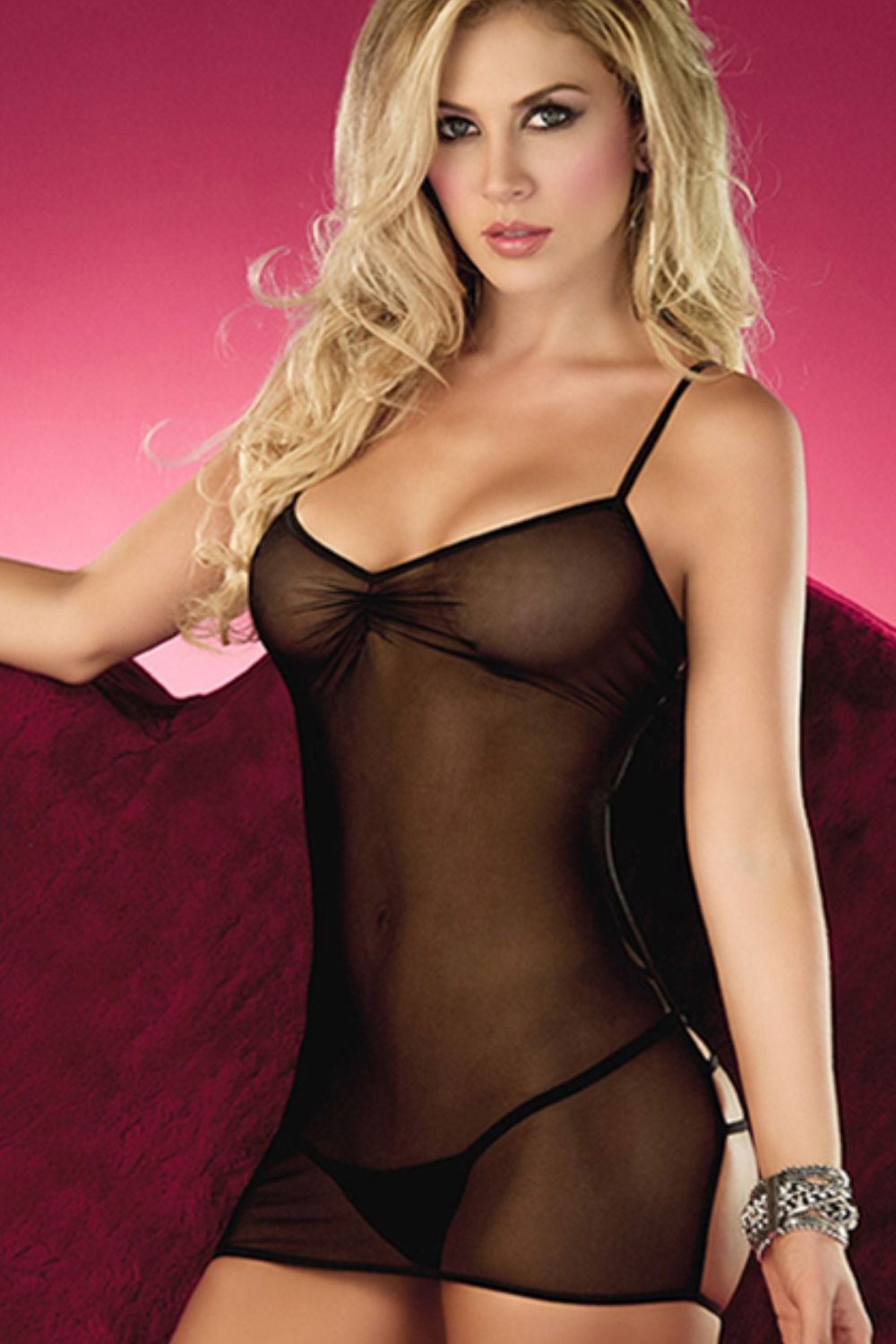 60ce870e1908 Sheer and laces to add spice into your love life. Check out our Atomic Black  Strappy Back Mesh Chemise.