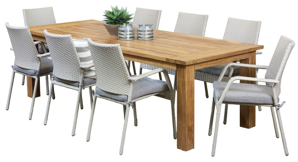 8 Seater Outdoor Dining Sets   Stanford 8 Seater Grey Recycled Teak