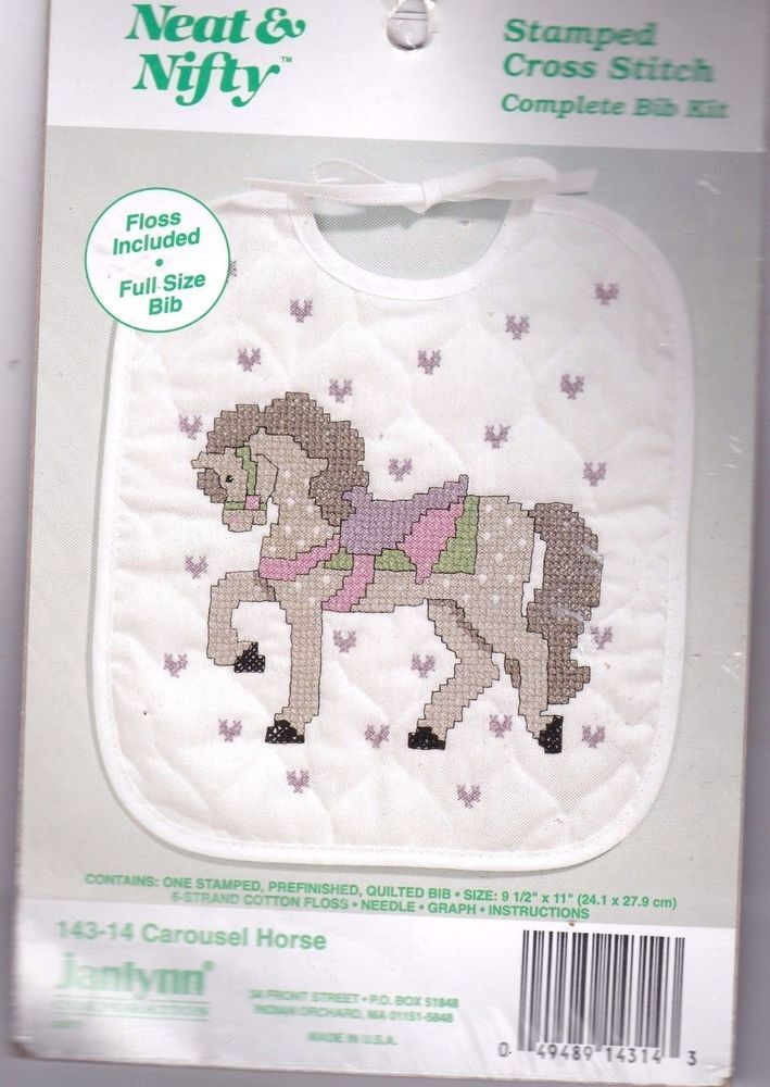 Janlynn Stamped Cross Stitch Kit Full Size Baby Bib Carousel Horse New Sealed #Janlynn #BabyBib