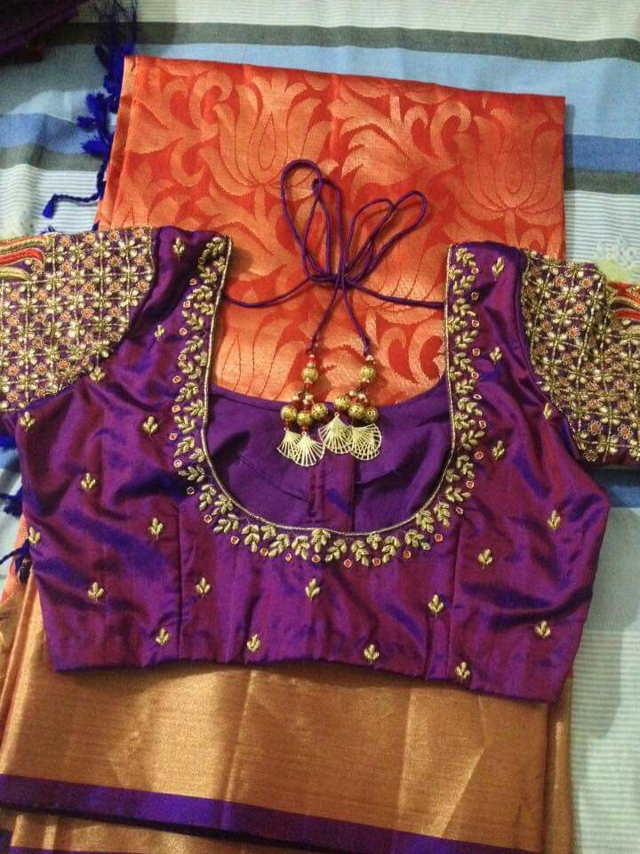Purple Silk Blouse Embroidery Blowse Designs Pinterest
