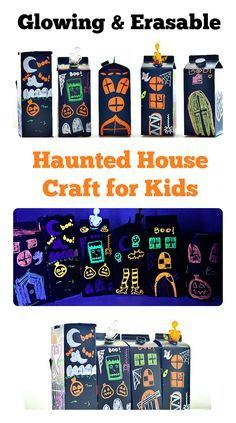 Halloween crafts for kids : Make cute, glowing and erasable haunted houses. Kids can decorate and over.
