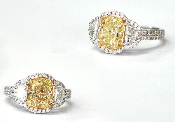Custom 3 Carat  Cushion Cut Natural Fancy Light Yellow Diamond Ring