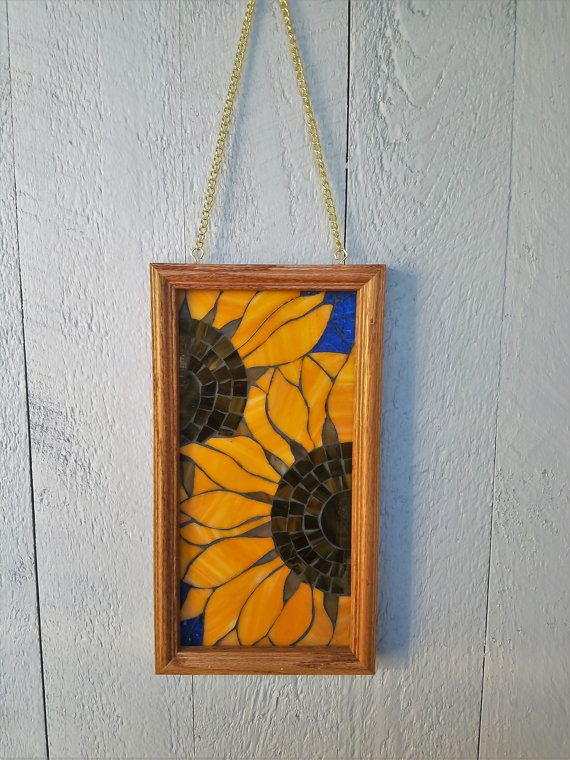 Sunflowers Stained Glass Mosaic Wall Hanging, 6x12 Inch Frame Comes ...