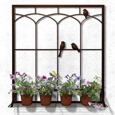 Plastec Bird in a Window Outdoor Wall Decor