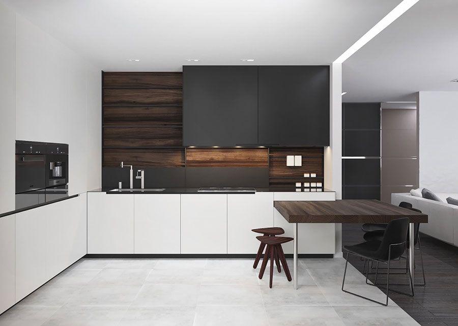 Cucina bianca e nera dal design moderno 05 cucine - Cucina bianca e nera ...
