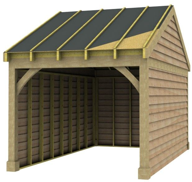 Best 1 Bay Garage With Low Pitch Gable End Roof Oak Cladding 640 x 480