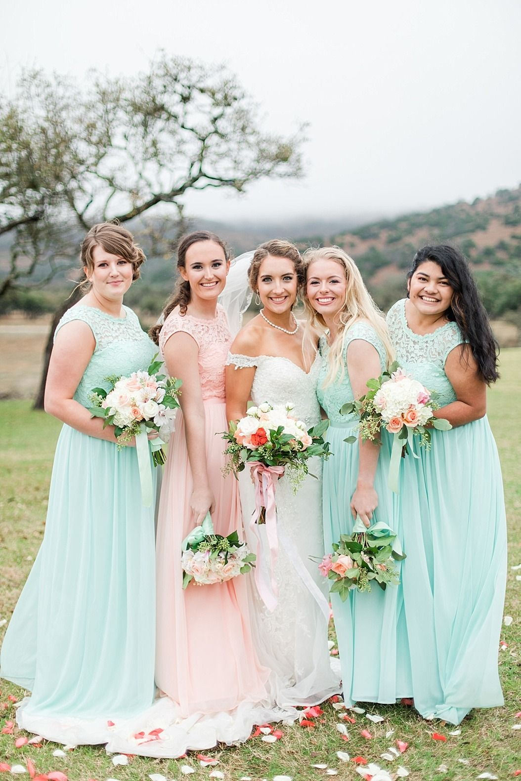Simply Pretty These Mint And Pink Lace Bridesmaid Dresses Are Flattering For Every Me Mint Bridesmaid Dresses Green Wedding Dresses Wedding Bridesmaid Dresses