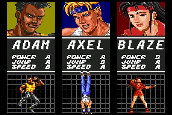 Streets Of Rage Character Select Poster By Winscometjump Rage Retro Video Games Nerd Life