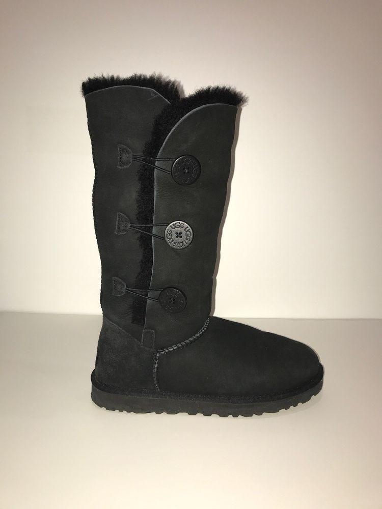 a1149e52443 UGG Australia Womens Size 9 Black Bailey Button Boots 1873 Suede ...