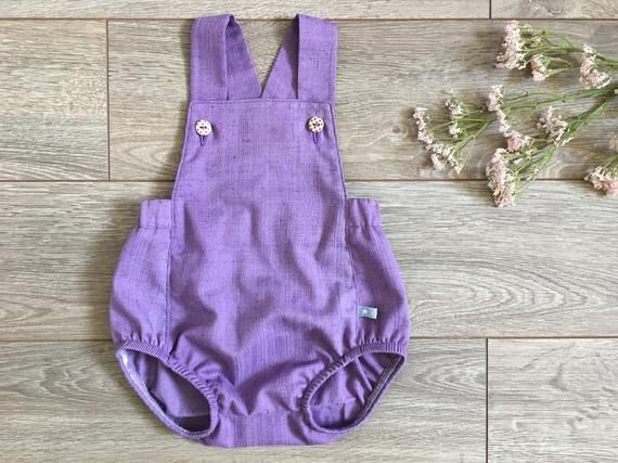 Romper dungarees of cotton, short dungarees, baby girl, dungarees purple, trendy baby fashion, Rompe
