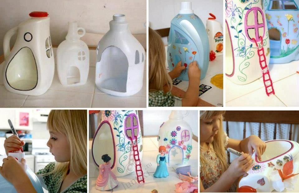 Con algo tan simple como una botella de detergente podréis crear fácilmente una casita para vuestras muñecas de lo más bonita.