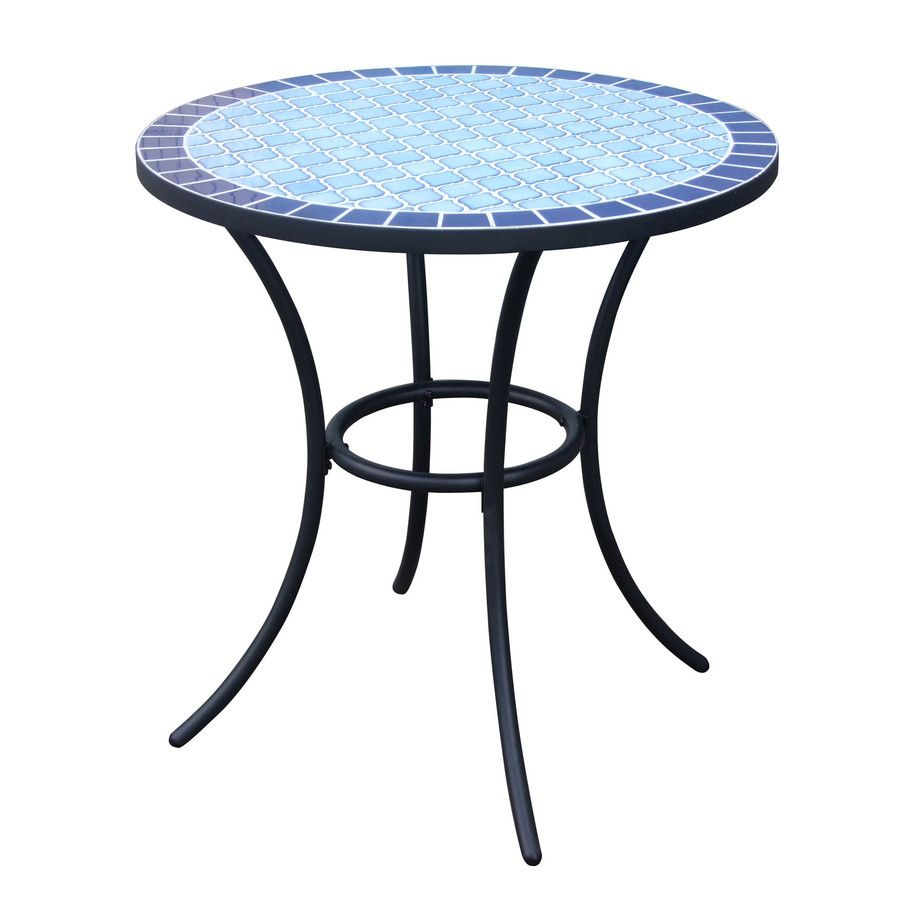 Garden Treasures Pelham Bay Tile Top Black Round Patio Bistro Table At Lowes