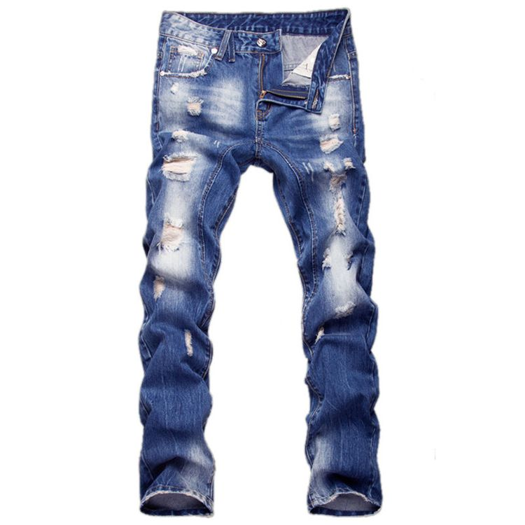 Beloved Mens Straight Fit Ripped Skinny Distressed Destroyed Zipper Jeans Holes Pants