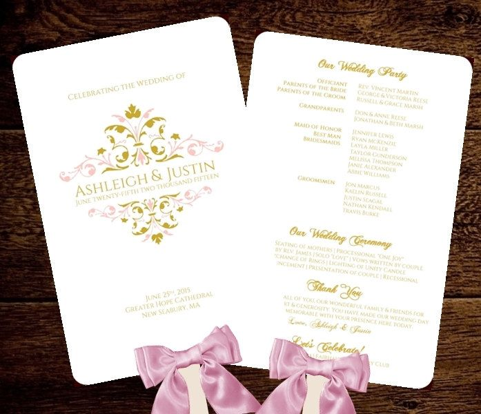 Wedding FAN Program Printable Template Blush  Gold Vintage Victoria