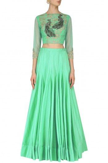 Aqua green bird motifs crop top and skirt set available only at Pernia's Pop Up Shop.